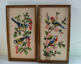 Vintage Framed Needlepoint a Pair of Vintage Needlepoint of Birds in Bamboo Style Frames
