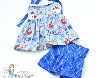 Patriotic Ginger Top with Fawn Bubble Shorts