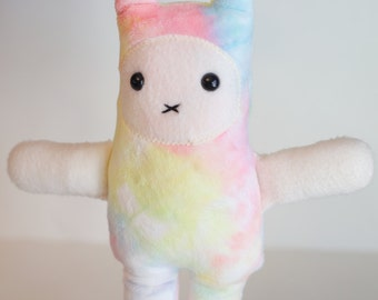 Rainbow tye dye~Bunny~ Rabbit ~pastel Easter ~ Lovie~ plushie
