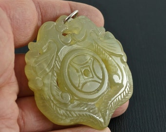 Antique Chinese Jade Pendant. Carved Stone Pendant. China Stone Carving. No.002048 cs