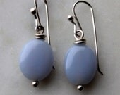 Blue Chalcedony bead earrings on handmade sterling silver french ear wires