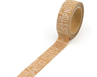 FREE SHIPPING - Kraft with White Text Washi Tape