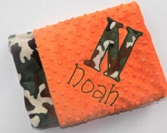 Monogrammed Minky Baby Blanket - Green & Brown  Camo with Orange- Personalized