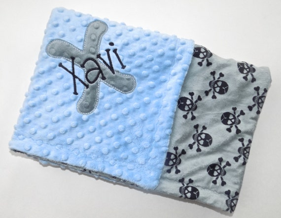 Boy Minky Baby Blanket - Blue, Gray and  Black Skull Pirate Pattern - Personalized Monogrammed Blanket with Name