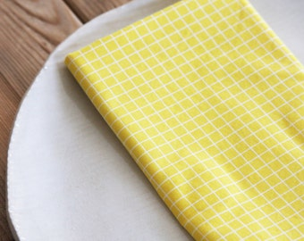 Set of 4 Napkins in Lemon Squares - Reversible Pattern - Eco Friendly