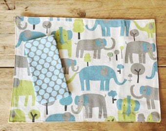 Blue elephants Placemat and dots Napkin Set for Kids