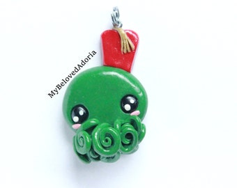 Chibi Cthulhu/Doctor Who mashup inspired Kawaii pendant- Ready To Ship!