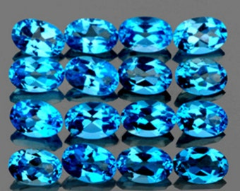 Beautiful Swiss Blue Topaz Faceted Ovals, Calibrated, 4 x 6 MM Priced Each