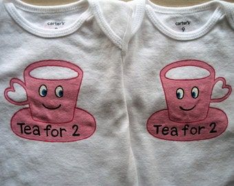 Teacup Onesie, Tea for 2  Twin Girl Onesies,Two Baby Girl Friends Get Together Outfits,BFF Onesie,Long or Short Sleeve Bodysuits