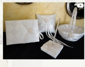 Wedding Set, Guest Book, Pen Set, Flower Girl Basket and Ring Bearer Pillow, Custom Order