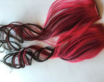 Ombre Human Hair Extensions Hot Pink and Black Clip in Streaks or Tape style 20 inch length