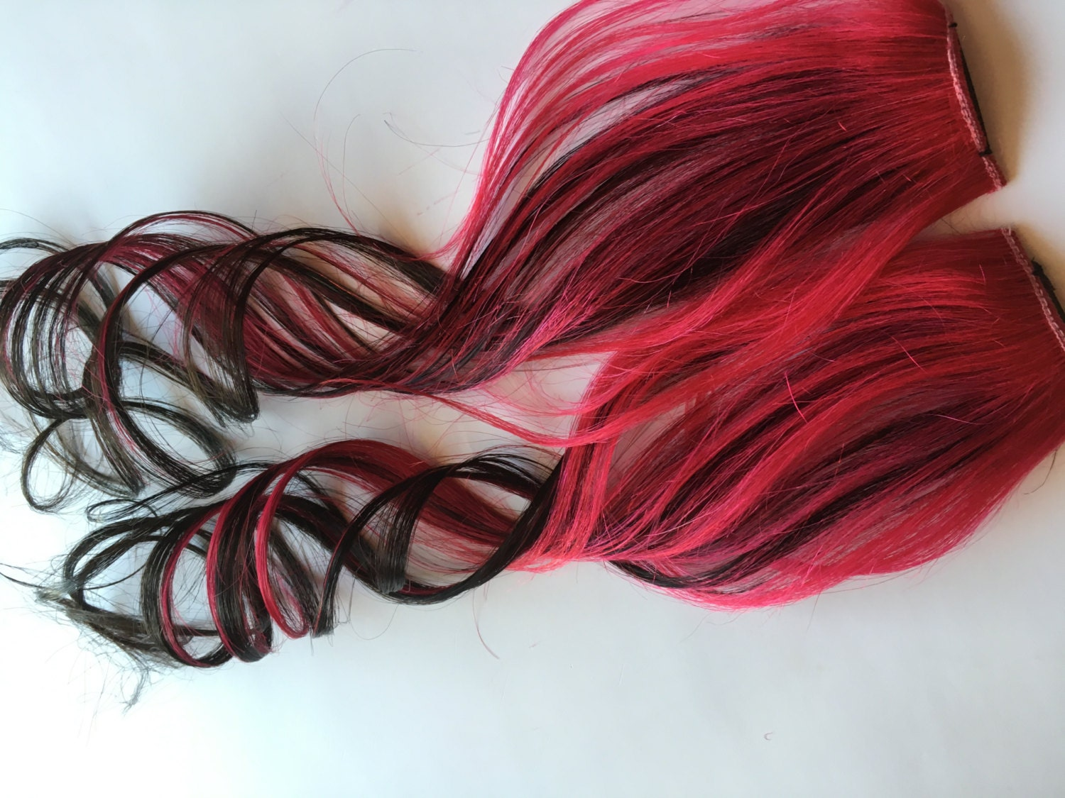 Ombre Human Hair Extensions Hot Pink and Black Clip in Streaks