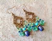 Bohemian chandelier earrings, Bohemian hippie gypsy long antique gold lapis lazul, turquoise, malachite, chandelier earrings