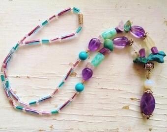 Amethyst  turquoise necklace, bohemian gemstone amethyst, turquoise, opal, crystal beaded necklace