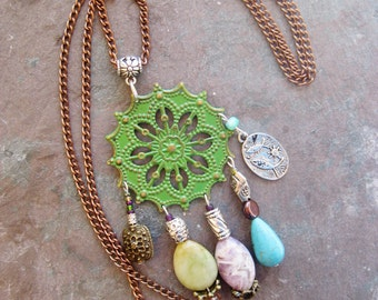 Bohemian statement necklace, gypsy hippie long mixed metal statement necklace with jade, amethyst and turquoise