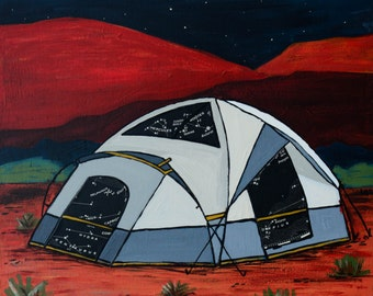 Desert Red - archival print of painting featuring a star map inspired by tent camping in Utah Desert, Moab, Arches, Zion, Canyonlands