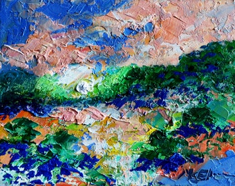 "Original Abstract Landscape Oil Painting- ""October High Country""- by Claire McElveen"