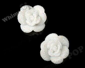 2 - Crystal Rhinestone Textured Large White Rose Cabochons, Flower Cabochons, Decoden Embellishment, Rose Flatback, 30mm x 10mm (R3-130)