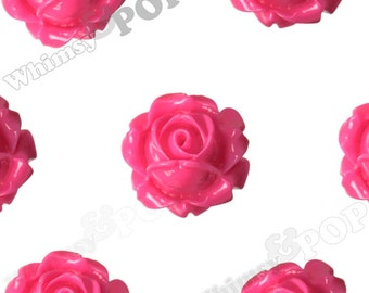 Vintage Deco Hot Pink Rose Bud Resin Cabochons, Fuschia Flower Cabochons, Rose Cabochons, Flat Back Embellishment, Fuchsia 15mm (R1-098)
