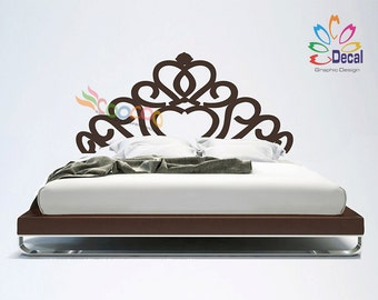 Headboard Decal Vinyl Wall Decal Floral Pattern King Queen Full Twin Size DC060