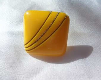 Authentic Vintage BAKELITE Yellow Pierced Earrings RARE One Of A Kind Large Different