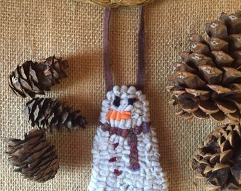 Free Shipping to USA - Handmade Hooked Rug Snowman Ornament with Pinky Plaid Scarf and Buttons