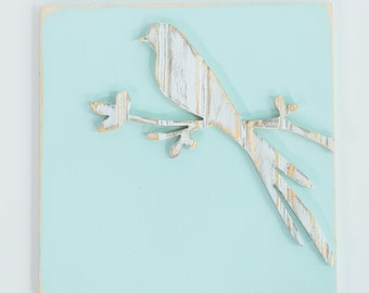 Vintage Bird, Wooden Wall Art, Distressed Antique White Bead Board, Nursery