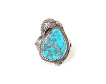 Signed Native American Turquoise in Sterling Silver Leaf Ring