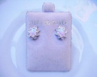 Vintage Sterling Silver Opal Pierced Earrings