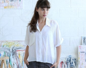 Halloween Sale White Button Down Shirt, White crop top , White summer blouse.