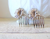 Art Nouveau Hair Comb, Floral Hair Comb, Silver Ox Brass, Silver Hair Comb, Silver Flowers, Poppy Hair Comb, Remembrance Day Poppy, POPPY