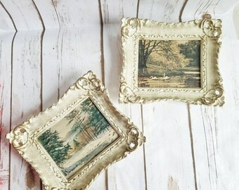 VINTAGE Gold Picture Frames, Set of 2 Wall Frames, Victorian Frames, Rustic Gold Frames, Winter Frames, Shabby Chic Wall Hanging