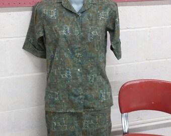 Tru Vintage 60's Mid Century Modern Dress Blouse Skirt Fall Colors Brooks size 9