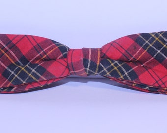 Vintage Red Plaid Bow Tie, Vintage Wembley Bow Tie, Red Plaid Wembley Clip On Tie, Vintage Bowtie