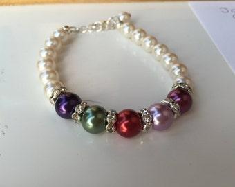 Mothers Pearl birthstone bracelet, Christmas gift, Mother's Day gift, mothers pearl bracelet, mothers birthstone bracelet