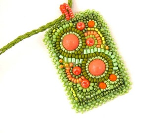 Green bead embroidered necklace, Seed beads necklace, Green and orange pendant, Gift's for her