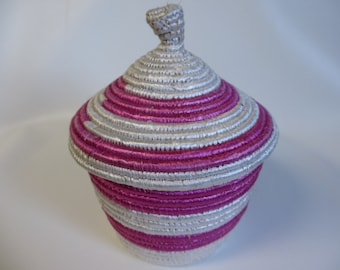 African Basket with Lid, Woven Basket, Pink and White Basket, Large Basket, Baby's Room Storage, Girls Room Storage, Fair Trade, Handmade