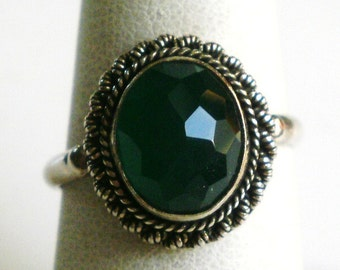Sterling Silver Green Glass Ring-Size 6 7/8