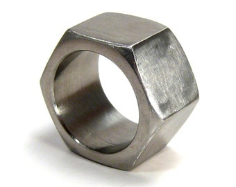 Hex nut ring, size 11.5 industrial modern geometric unisex stainless steel hexagon ring