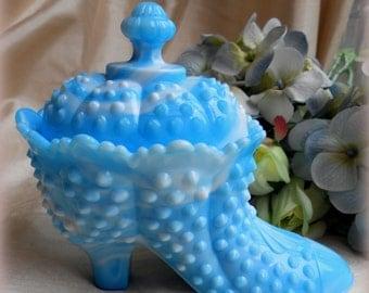 """Vintage Fenton Blue Slag Glass-Covered dish, Fancy Blue Shoe,Collectible Glass,Hobnail,Shoe-""""Mint Condition!"""""""