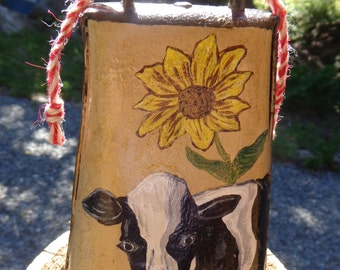 Antique Cow Bell Folk Art by the Artist/Country/Cabin/Rustic