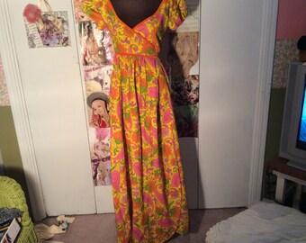 Bete Honolulu women small tropic maxi dress--yellow/pink/green/purple--wrap style-v-neck