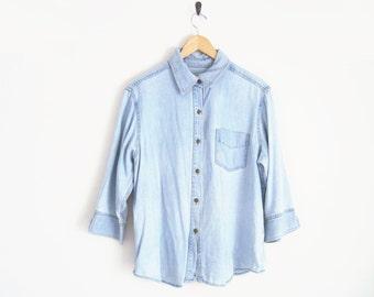 Vintage Chambray Shirt. Quarter Length Sleeves Light Blue Denim Chambray Button Down Shirt. Light Classic Top. Pointed Collar Pocket Shirt.