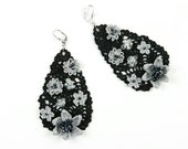 Earrings-Drop Shape Crochet Crystal Beaded Floral Black Luxury Statement Earrings, Crochet Earrings, Bohemian Jewelry, Nonallergic Earrings