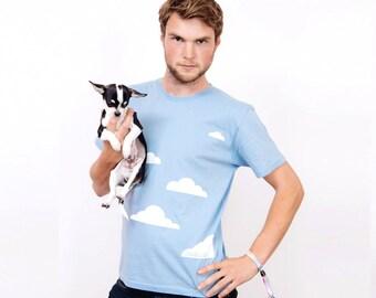 Merrimaking Cloud T-Shirt. Light blue, summer t-shirt featuring screen printed clouds.