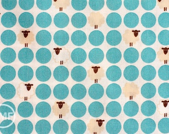 Sheep Dots in Light Blue, Westex, Japanese Import Fabric, 100% Cotton Fabric