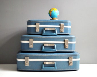 Vintage Blue Suitcase Set - Four Piece Set