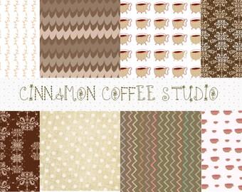 Chocolate Coffee Digital Paper, Dark Brown Backgrounds, Chocolate, Coffee, Retro Brown Textures - set of 8