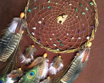 The Lone Wolf Dream Catcher- Beaded Dream Catcher with a Stone Fetish Wolf and Beutiful Feather work