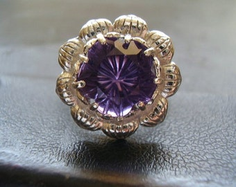 Genuine Amethyst Carved Flower Solitaire Statement Ring - Solid 925 Sterling Silver Ring - Birthstone Of February Ring - OOAK One Of A Kind